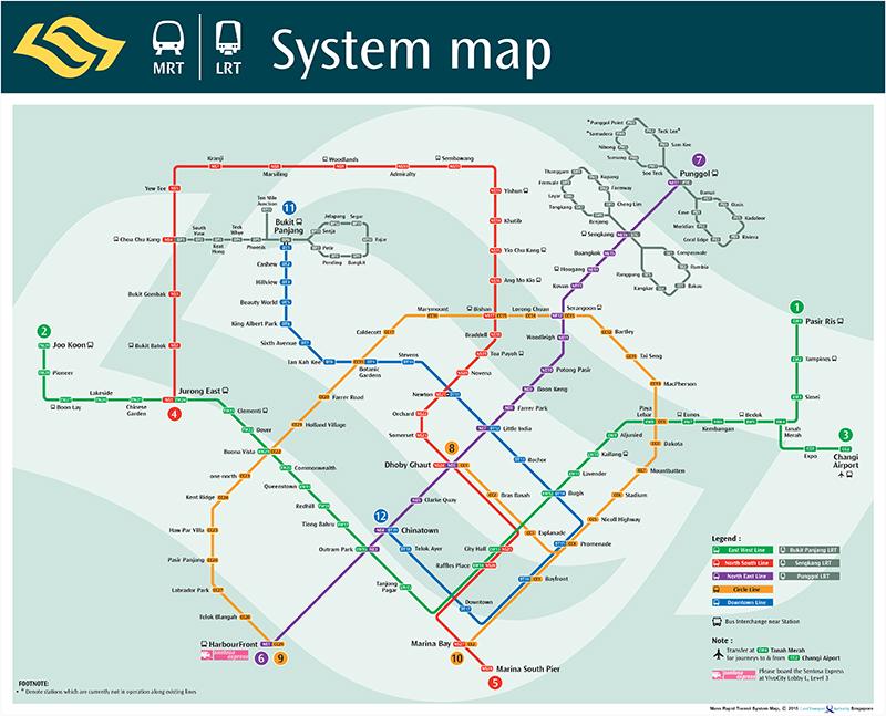 সিঙ্গাপুর MRT লাইনের ম্যাপ
